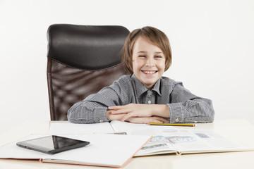 school boy love learning