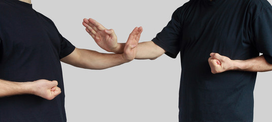 Athletes are training blocks wing chun kung fu