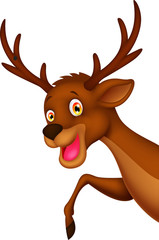 Cute cartoon deer waving