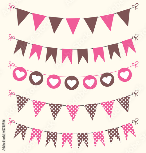 Bunting set pink and brown for scrapbook