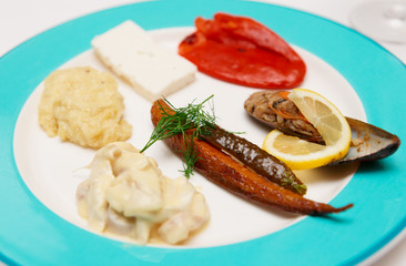 Turkish fish snacks on plate