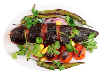 Meat kebab with eggplant isolated on white