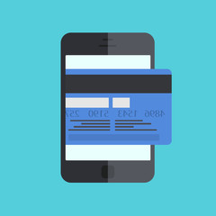 vector smartphone with mobile payment on blue background