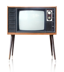 Vintage analog television isolated, clipping path.
