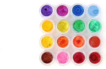 Watercolor palette on white background