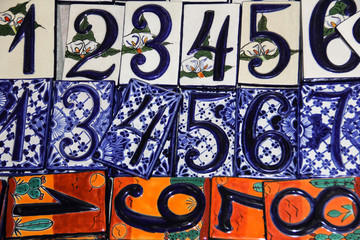 Artistic house numbers at Mexican market.