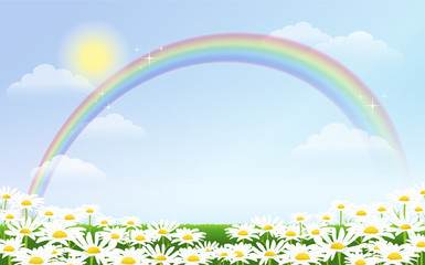 青空 虹 イースター 春 Rainbow and daisies against blue sky