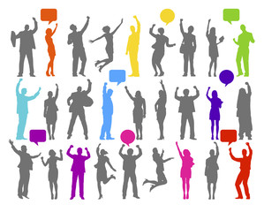 Colorful Silhouette of Rejoiced Business People Vector