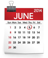 Vector of June 2014 Calendar