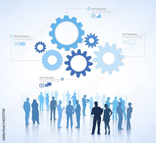 Vector of Business People Discussing with Infographic