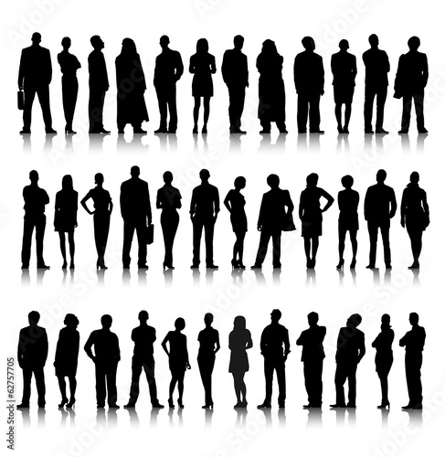 Standing Silhouette of Crowd of Business People Vector
