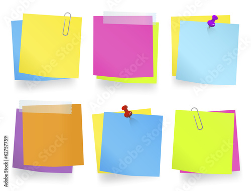 Vector of Colorful Memos in a Row with Spaces