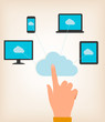 Flat design concept of cloud computing concept with hand and com