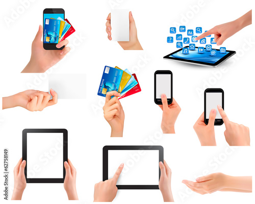 Set of hands holding different business objects. Vector illustra