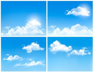 Collection of backgrounds with blue sky and clouds. Vector backg
