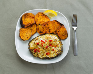 Baked Fish and Yam Slices