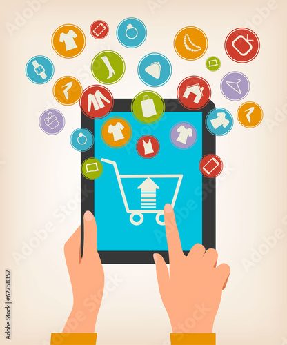 E-shopping concept. Hands touching a tablet with shopping icons.