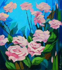 bush of fresh roses, painting by oil on a canvas, illustration