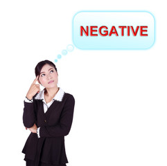 Business woman thinking about negative thinking