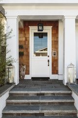White front door to a luxury home