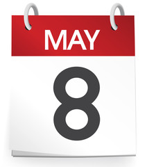 Calendar of 8th of May Vector