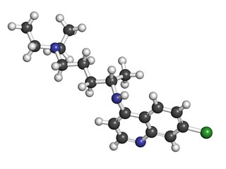 Chloroquine malaria drug molecule. Used to treat malaria.
