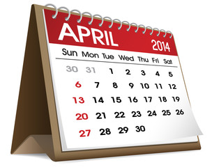 Calendar of April 2014 Vector