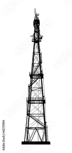 Telecommunications tower. Radio or mobile phone base station.