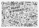 Fototapety Doodle Birthday party background