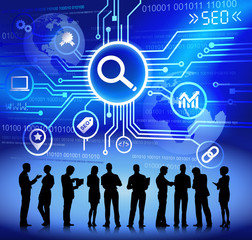Technology and SEO Themed Background with Business People