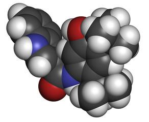 Ivacaftor cystic fibrosis drug molecule.