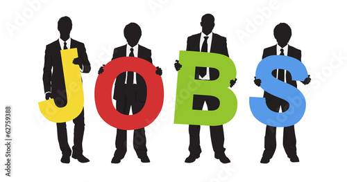 Business People Holding Word Jobs