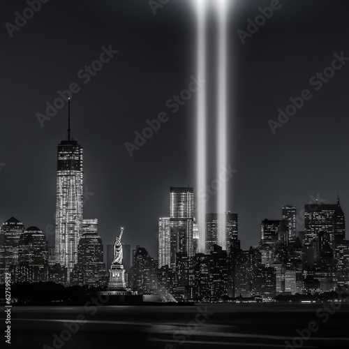 Poster Artistiek mon. 12 years later…Tribute in Lights, 9/11