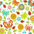 seamless pattern of spring flowers, butterflies