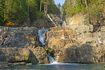 Morning Light on Hidden Falls in the Mountains