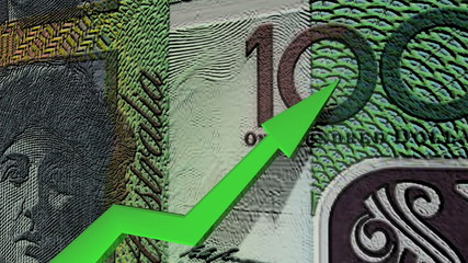 Australian dollar currency value up animation.