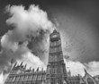Wide angle upward view of Big Ben and Westminster Palace