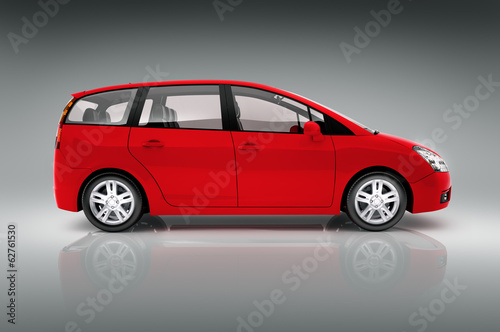 3D Red Family Car