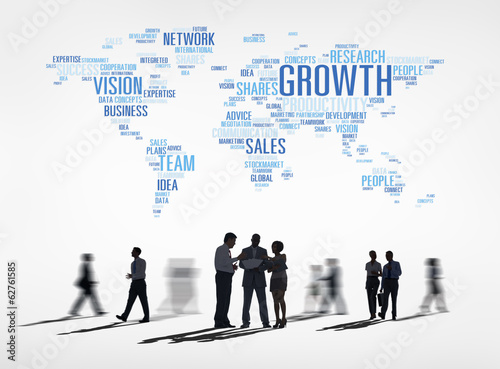 Silhouette of Business People and Global Growth