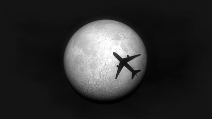 Airplane fly by moon.