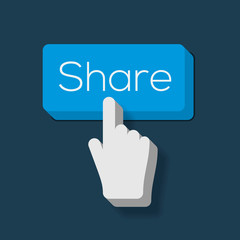 Share Button with Hand Shaped Cursor, vector Eps10 image.