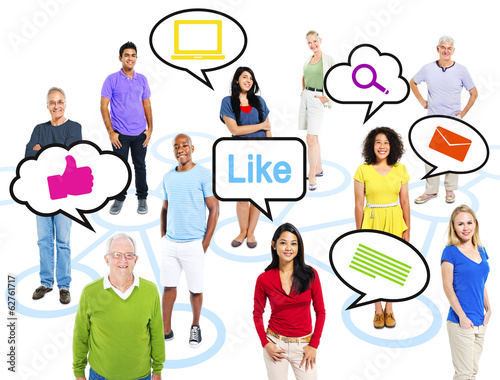 Group Of Multi-Ethnic People With Speech Bubbles