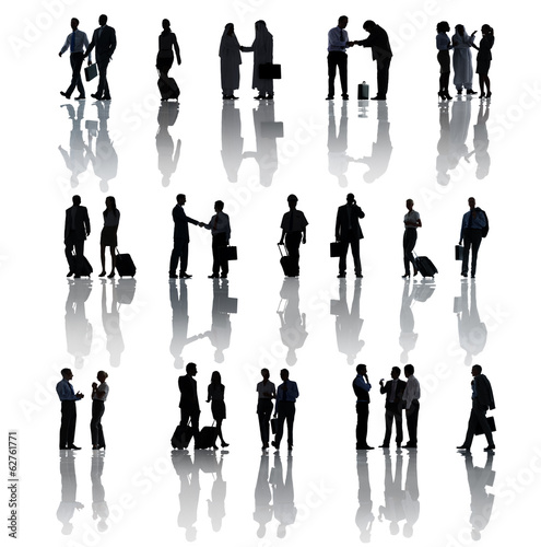 Silhouette Of Business People Traveling