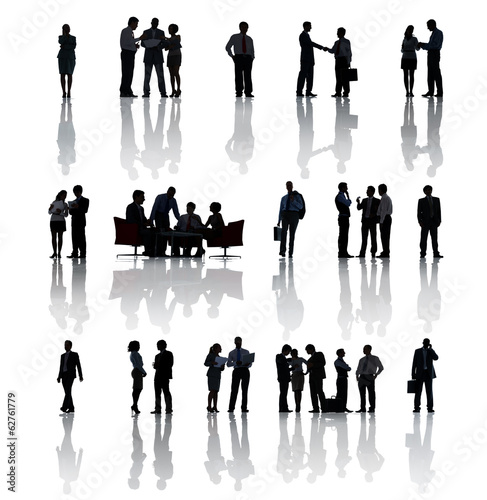 Silhouette Of Business People In Diverse Situations