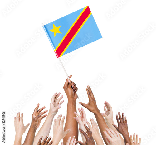 Group Of Multi-Ethnic People Holding The Flag Of Congo