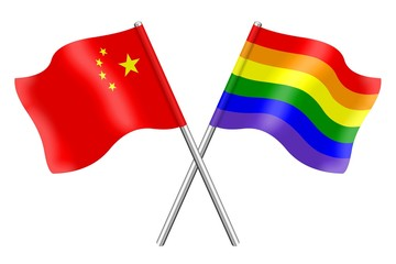 Flags : China and rainbow