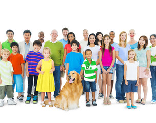 Group of Multi-Ethnic People And Golden Retriever Dog