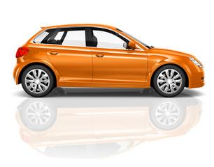 Orange 3D Hatchback Car