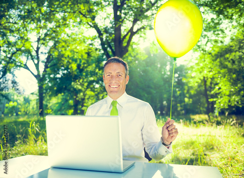 Environmentalist Businessman in Outdoor Office
