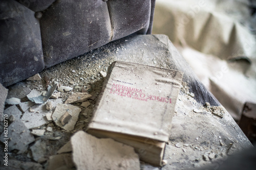 Old book in abandoned room